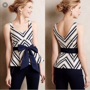 Anthropologie Maeve Peplum Top in Blue & White